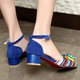 Adjustable Ankle-Buckle Chunky Heel  Pumps