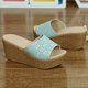 Split Leather Hollow-out Wedge Heel Slippers