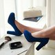 Plus Size Nubuck Chunky Heel Pumps