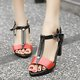 Split Leather Heels Adjustable Buckle Chunky Heel Pumps