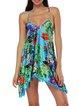 Blue Women Print Dress Square neck Beach Spaghetti Paneled Dress