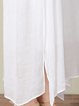 White  Women Daily Sleeveless Asymmetric Solid Casual Dress