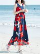 Navy Blue Women Casual Dress V neck Going out Sleeveless Floral-print Dress