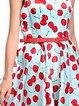 Women Print Dress Crew Neck Swing Linen Paneled Dress