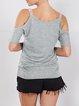 Short Sleeve Cold Shoulder Polyester T-Shirt