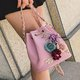 PU Leather Vintage Sweet Flower Applique Crossbody Bag For Ladies