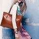 Graceful Oiled PU Leather Handbag Elegant  Women Shoulder Bag