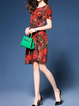 Red A-line Women Daily Casual Silk-blend Half Sleeve Floral-print Floral Casual Dress