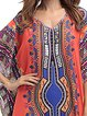 V neck  Women Holiday Half Sleeve Cotton-blend Printed Tribal Floral Dress