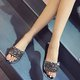 Woman Rhinestone Single Strap Flat Sandals