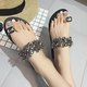Womens Faux Rhinestone Toe Ring Flat Plus SIze Sandals