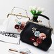 Floral Applique Sweet PU Leather Kiss Lock Crossbody Bag Tote Bag For Women