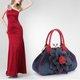 Flower Applique Denim Party Evening Dating Elegant Handbag For Women