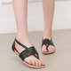 Flat Heel Daily Micro Leather Sandals