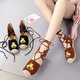 Embroidery Daily Flocking Flat Heel Sandals