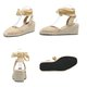 Wedge Heel Flocking Daily Lace-up Sandals