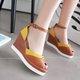Women Artificial Leather Color Block Wedge Heel Wedge