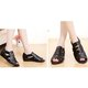 Elastic Band Leather Soft Peep Toe Hollow Out Sandals