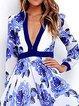Blue Women Prom Dress V neck Swing Evening Paneled Floral Dress