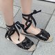 Daily Mesh Fabric Lace-up Flat Heel Sandals