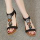 Bohemia Micro Leather Zipper Wedge Heel Daily Sandals