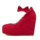 Bowknot Wedge Heel Flocking Sandals