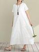 A-line Women Linen Elegant Short Sleeve Paneled  Casual Dress