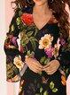 Black A-line Women Daytime Cotton-blend Frill Sleeve Paneled Floral Dress