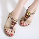 Big Size Bohemia Beaded Rhinestone Peep Toe Fish Mouth Flat Sandals