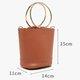 Women Concise PU Leather Bucket Bag Small Crossbody Bag