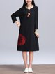 Vintage V Neck Long Sleeve Dress