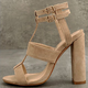 Double Buckle Straps Chunky Heel Suede Pumps