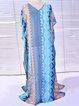 Crew Neck Women Blue Dress Beach Batwing Chiffon Geometric Dress