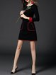 Black  Women Daytime Long Sleeve Casual Cotton Paneled Plain Elegant Dress