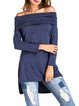 Dark Blue Solid High Low Off Shoulder Tunic Top
