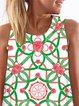 Green  Women Casual Sleeveless Paneled Floral Dress
