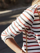 White Women Casual Dress Crew Neck Going out Long Sleeve Striped Dress