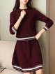 Crew Neck Long Sleeve Knitted Girly Two-piece Set