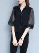 3/4 Sleeve Shirt Collar Paneled  Blouse
