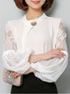 Balloon Sleeve Lace Paneled Stand Collar Chiffon Blouse