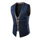 Men's Dress Suit layered Vest V Neck Patchwork Fake 2 Piece Slim Suit Vest