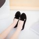 Spring/Fall Black Metal Buckle Artificial PU Flat Heel Loafer