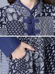 Blue Swing Women Daily Long Sleeve Statement Cotton Paneled Floral Elegant Dress