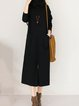 Shift Women Daily Cotton Long Sleeve Slit Solid Casual Dress