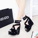 Black Comfort Boots Sandals Open Toe Wedges