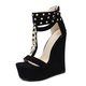 Women Trendy Rivet Chains Embellished Wedge Sandals