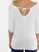 Black Scoop Neck Cold Shoulder Tie-up at Back Tee T-Shirt