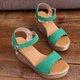 Wedge Heel Summer Daily Nubuck Adjustable Buckle Shoes