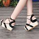 Leather Wedge Heel Casual Imitation Pearl Sandals