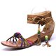 Plus Size Lace-up Flocking Wedge Heel Sandals